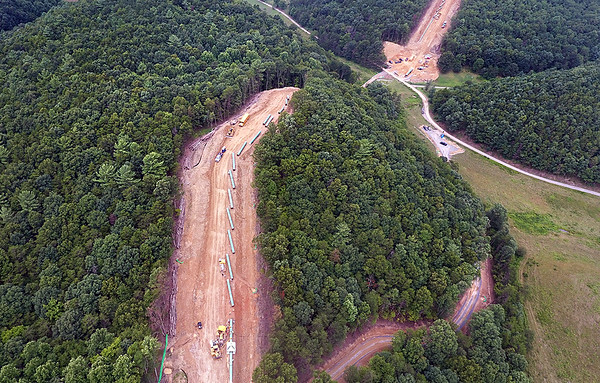 A section of the Mountain Valley Pipeline is seen under construction near Lindside in Monroe County Wednesday. (Jenny Harnish/The Register-Herald)