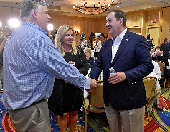 (Brad Davis/The Register-Herald) Republican U.S. Senate candidate Don Blankenship speaks with supporters after conceding during his results party Tuesday night at the Charlseton Marriott.