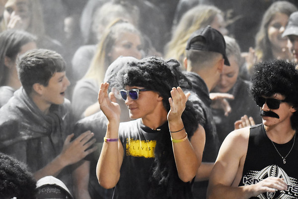 Shady Spring's student section during their high school football game against Wyoming East Friday in Shady Spring. (Chris Jackson/The Register-Herald)