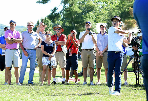 Kevin Na hits his second shot on the par 5, 17th  during A Military Tribute at The Greenbrier golf tournament held at The Greenbrier Resort in White Sulphur Springs.<br /> (Rick Barbero/The Register-Herald)