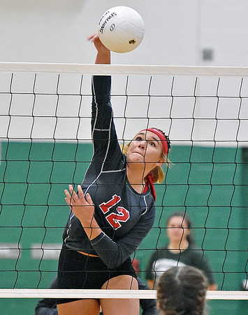 (Brad Davis/The Register-Herald) Liberty's Morgan Marty rips a spike against Fayetteville August 29 in Fayetteville.