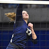 (Brad Davis/The Register-Herald) Shady Spring's Madison Shepherd spikes the ball against Philip Barbour during State Volleyball Tournament action Friday evening at the Charleston Civic Center.