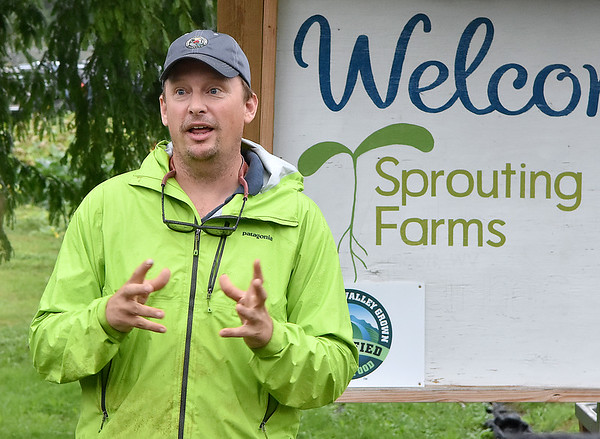 (Brad Davis/The Register-Herald) Sprouting Farms Director Fritz Boettner speaks to a group of visiting farmers and those interesting in starting a farm operation during a WV CRAFT (Collaborative Regional Alliance for Farmer Training) open house style event Sunday afternoon in Talcott.