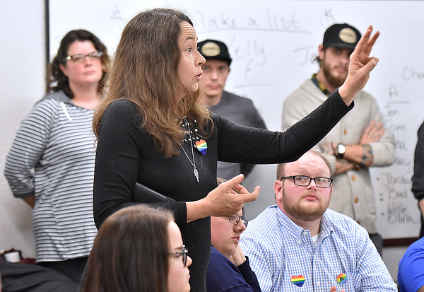 (Brad Davis/The Register-Herald) Pam Upton, speaks on behalf of St. Stephens Episcopal Church in favor of the proposed LGBTQ anti-discrimination protections during the Beckley Human Rights Commission meeting Wednesday night at the Mountain State Centers for Independent Living.