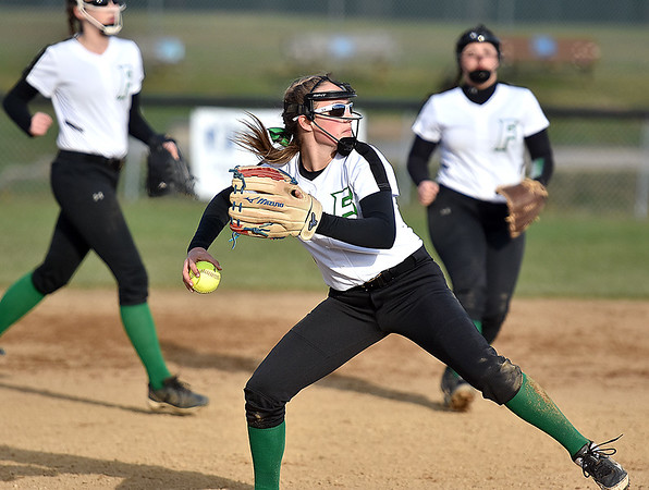 (Brad Davis/The Register-Herald) Fayetteville starting pitcher Ashley Fridley fields a ground ball against Independence Wednesday evening at Fayetteville Town Park.
