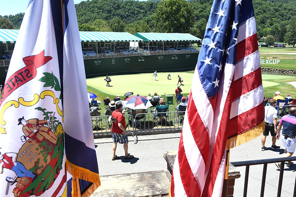Viev of the 18th green during A Military Tribute at The Greenbrier golf tournament held at The Greenbrier Resort in White Sulphur Springs.<br /> (Rick Barbero/The Register-Herald)