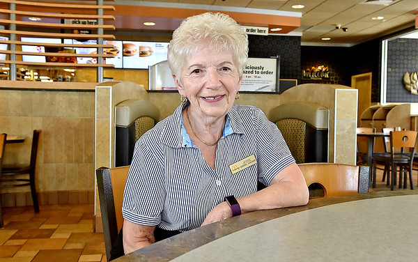 (Brad Davis/The Register-Herald) Retiring McDonald's manager Jessie Wolfe during a Register-Herald visit to her store Wednesday afternoon.