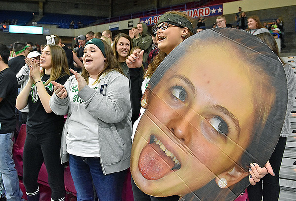 (Brad Davis/The Register-Herald) Wyoming East students cheer on their classmates on the court during the Lady Warriors Class AA State Championship game against North Marion Saturday afternoon at the Charleston Civic Center.