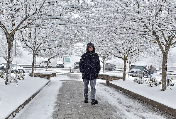 (Brad Davis/The Register-Herald) Huntington resident Mike Korona walks along a sidewalk under a snowy tree canopy as he makes a stop-off at Tamarack on his way to Pennsylvania Saturday afternoon as the snow comes down in buckets.
