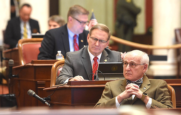 Senate minority leader Roman Prezioso, D-Marion, listens to discussions about Senate Bill 267, increasing salaries of certain state employees. The Senate unanimously passed the bill that would increase teachers and certain state employees salaries by 1 percent.<br /> (Rick Barbero/The Register-Herald)