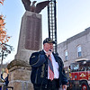 (Brad Davis/The Register-Herald) Navy veteran and Eccles native Donald Cole delivers a quick speech and a thank you to all his fellow veterans during Mt Hope's annual Veteran's Day ceremony Sunday afternoon at the town's Main Street war memorial.