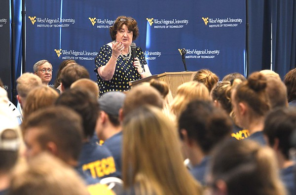 WVU Tech president Carolyn Long, speaks to the Class of 2013 during their orientation in Van Meter Gym at WVU Tech campus on South Kanawha Street in Beckley Monday morning.<br /> (Rick Barbero/The Register-Herald)