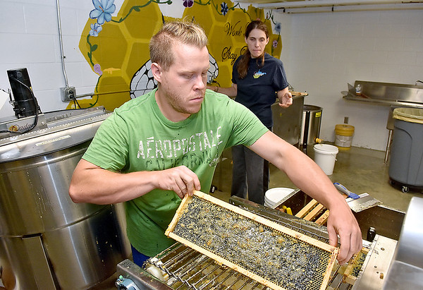 (Brad Davis/The Register-Herald) Volunteer Clinton Taylor pulls honeycombs packed with dripping honey from an uncapping machine that breaks up the wax seal before handing them to Cheyenne Farms (Summersville) beekeeper Lisa Eades, who then puts them into an extractor during an open house and demo event at Shady Spring High School's new honey extraction facility August 3.