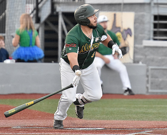 (Brad Davis/The Register-Herald) Miners batter Jonathan Pasillas hits a deep fly ball to centerfield off Danville starting pitcher Jack DeCooman Friday night at Linda K. Epling Stadium.