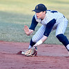 (Brad Davis/The Register-Herald) Shady Spring 2nd baseman Thatcher Poteat fields a ground ball off the bat of Bluefield's Blake Cundiff during the Tigers' game against the Beavers Wednesday evening in Shady Spring.