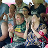 Members of the audience cheer during Stephen Smith's speech during the annual UMWA Labor Day Celebration at John Slack Memorial Park in Racine on Monday. (Chris Jackson/The Register-Herald)