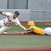 (Brad Davis/The Register-Herald) Miners baserunner Matt Rubayo steals 3nd base as Lafayette infielder Braedon Blackford has to dive to catch the errant throw Sunday afternoon at Linda K. Epling Stadium.