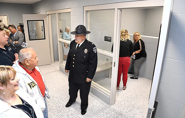 Cpt. Jake Corey showing the holding cells during a tour of the new Beckley Police Department on 501 Neville Street. <br /> (Rick Barbero/The Register-Herald)