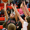 (Brad Davis/The Register-Herald) Oak Hill's Samiah Lynch drives to the basket as Greater Beckley Christian's Jess Arrington defends Friday night in Prosperity.