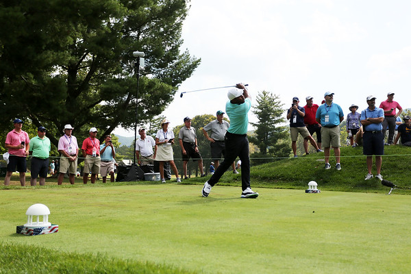 Harold Varner, III, tees off on the No. 9 hole of The Old White Course during the first round of golf of A Military Tribute at The Greenbrier in White Sulphur Springs on Thursday. Varner finished the day T3 with -5. (Chris Jackson/The Register-Herald)