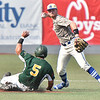 (Brad Davis/The Register-Herald) Miners baserunner Jonathan Pasillas breaks forces Terre Haute hitter shortstop Brendan Sher wide with a break-up slide, allowing teammate Ross Mulhall to reach st base and thwarting a double play Friday night at Linda K. Epling Stadium.