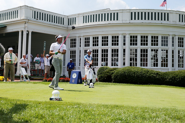 Bubba Watson tees off on the No. 1 hole of The Old White Course during the first round of golf of A Military Tribute at The Greenbrier in White Sulphur Springs on Thursday. (Chris Jackson/The Register-Herald)