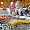 (Brad Davis/The Register-Herald) Two-year-old Glen Daniel resident Canaan Sadler reaches down to harvest crops as he and other youths go stage to stage in the farm to table process, simulated in an educational format geared towards younger kids in the Agriculture Pavilion Sunday afternoon at the State Fair in Fairlea.