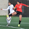(Brad Davis/The Register-Herald) WVU Tech's Miriam Cortez battles for possession with Rio Grande's Ambar Torres during a tough loss to the Red Storm Thursday evening at the YMCA Paul Cline Memorial Soccer Complex.