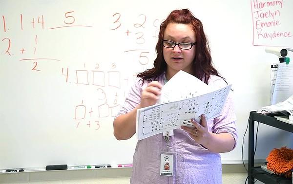 Crescent Elementary School first grade teacher Kayla Boyd teaching math to her class.<br /> (Rick Barbero/The Register-Herald)