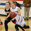 (Brad Davis/The Register-Herald) Midland Trail's Kyleigh Jackson works along the perimeter as Summers County's Bethani Cline defends Wednesday night in Hico.