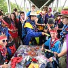 Scouts trading patches and other merchandise during the World Scout Jamboree at the Summit Bechtel Reserve in Glen Jean.