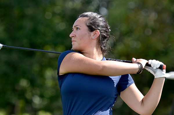 (Brad Davis/The Register-Herald) Woodrow Wilson junior Mary Denny watches her drive during a practice round at Grandview Saturday afternoon.