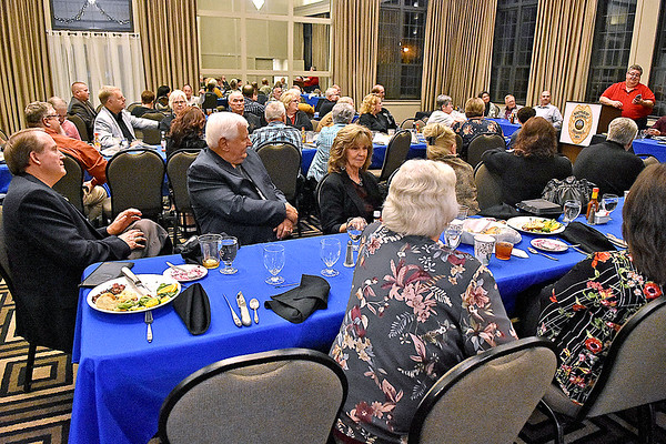 (Brad Davis/The Register-Herald) Tim Berry speaks to attending current and former Beckley Police officers during the first Beckley police Alumni Association dinner and awards ceremony Saturday night at Black Knight Country Club.