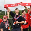 Scouts Nico Laden, left, Lino Rey, Tim Oesch, Benedikt Morchett and Andi Schaub, of Switzerland, display a banner to other scouts on the Consul Energy Bridge during the World Scout Jamboree at the Summit Bechtel Reserve in Glen Jean.