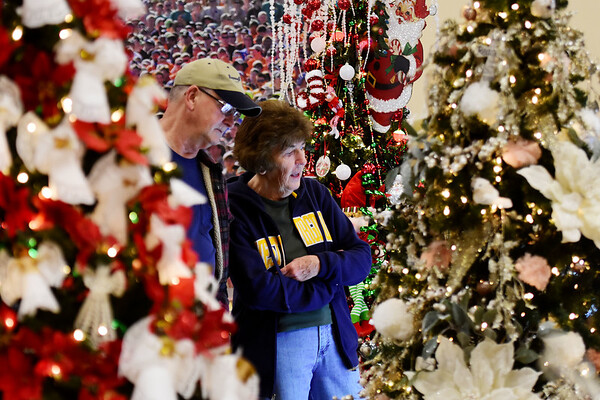 Dave and Robin Clark, from Fayetteville, look over Christmas trees during the 11th annual United Way of Southern West Virginia's Wonderland of Trees Auction at the J.W. And Hazel Ruby West Virginia Welcome Center in Mt. Hope on Friday. (Chris Jackson/The Register-Herald)