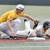 (Brad Davis/The Register-Herald) Miners 1st baseman Ross Mulhall puts the tag down on Lafayette baserunner Blake Schmitt to complete a pick off June 2 at Linda K. Epling Stadium.