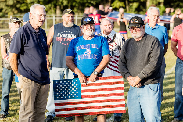 Local Veterans honored in a ceremony before the game. Chad Foreman for the Register-Herald.