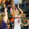 (Brad Davis/The Register-Herald) Summers County's Taylor Isaac shoots from three-point range as River View's Jenna Atwell defends Saturday night in Hinton.