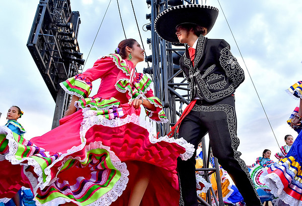 (Brad Davis/The Register-Herald) Mariachi dancers perform on one of two side stages as Mexico is celebrated during the introduction of nations at the World Scout Jamboree's Cultural Celebration Friday night at the Bechtel Summit Reserve.