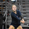(Brad Davis/The Register-Herald) Independence's Kylie Nelson returns an Oak Glen spike during State Volleyball Tournament action Friday morning at the Charleston Civic Center.