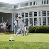 Defending champion Kevin Na tees off on the No. 1 hole of The Old White Course during the first round of golf of A Military Tribute at The Greenbrier in White Sulphur Springs on Thursday. (Chris Jackson/The Register-Herald)