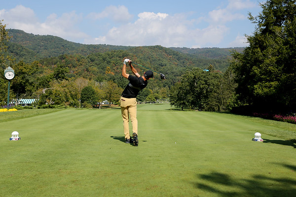 Kristoffer Ventura tees off on the No. 1 hole of The Old White Course during the first round of golf of A Military Tribute at The Greenbrier in White Sulphur Springs on Thursday. (Chris Jackson/The Register-Herald)