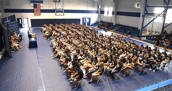 Over 300 hundred new students are welcomed in Van Meter Gym at WVU Tech on South Kanawha Street in Beckley Monday morning for a formal introduction to the Tech community during their orientation. <br /> (Rick Barbero/The Register-Herald)