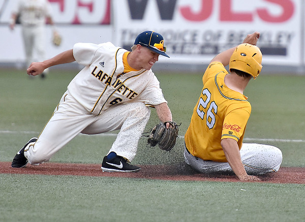 (Brad Davis/The Register-Herald) Miners baserunner Matt Rubayo steals 2nd base as Lafayette infielder Tyler Powers can't get the tag on him in time Sunday afternoon at Linda K. Epling Stadium.