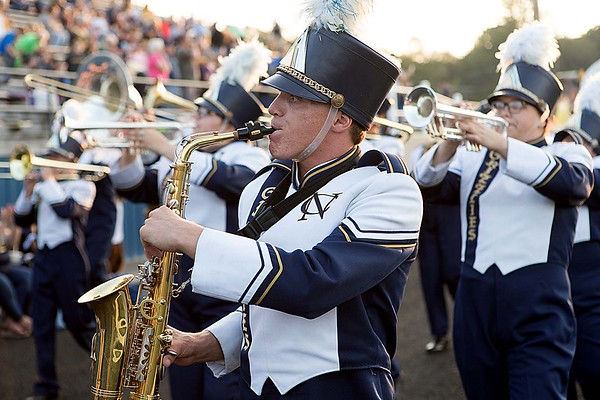 The Nicholas County marching Grizzlies play for their fans. Chad Foreman for the Register-Herald.