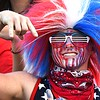 Cyden Trump, of Liberty, decked out in red, white and blue during game against Pikeview at Liberty High School in Glen Daniels.<br /> (Rick Barbero/The Register-Herald)