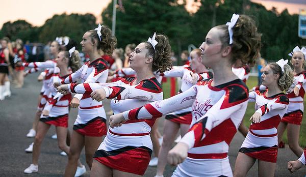 Oak Hill Red Devils Cheerleaders in action.