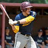 (Brad Davis/The Register-Herald) Beckley Post 32's Tanner Buchanan singles against Parkersburg Post 15 Saturday at Woodrow Wilson High School.