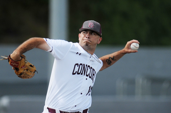 Concord's pitcher Troy Beckner (14) delivers a pitch during their MEC baseball game against Shepherd in Beckley on Friday. (Chris Jackson/The Register-Herald)