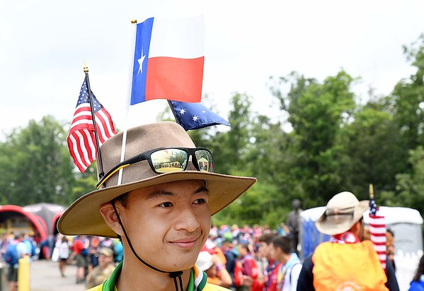 Jonathan Pan, of Australia, watching scouts skate boarding during the World Scout Jamboree at the Summit Bechtel Reserve in Glen Jean.